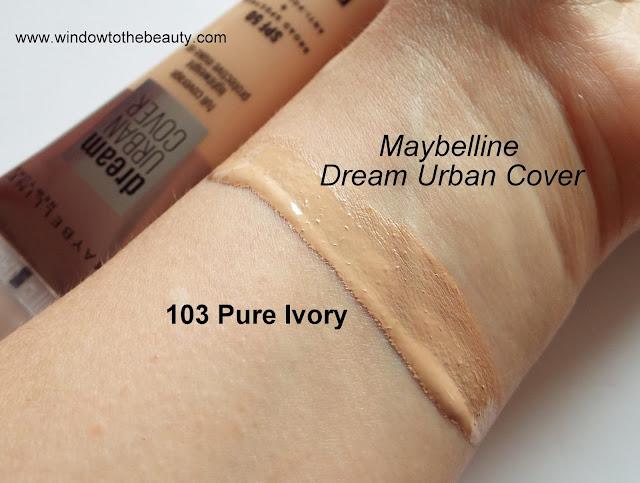 Podkład Maybelline Dream Urban Cover 103 pure ivory zdjecia odcieni swatche
