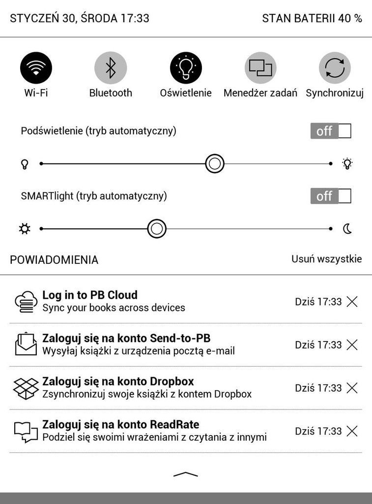 PocketBook Touch HD 3 – skrót do logowania do usługi PocketBook Cloud pojawiający się w powiadomieniach