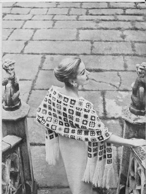 1950s vintage crochet pattern; Vogue Knitting; stole in multi-coloured granny squares with fringe