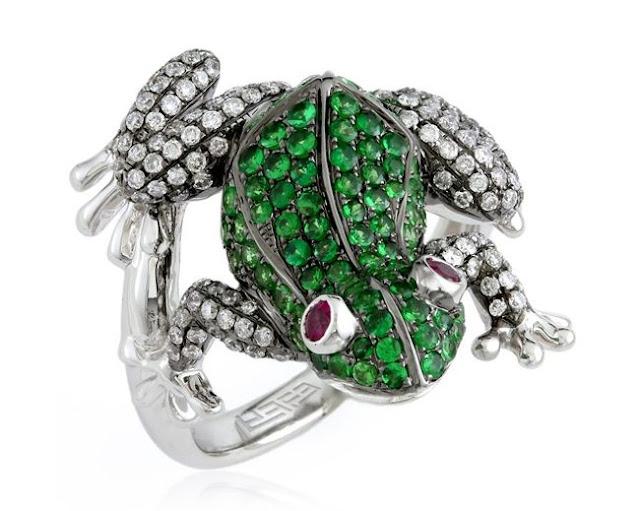 Gemstone Frog Ring