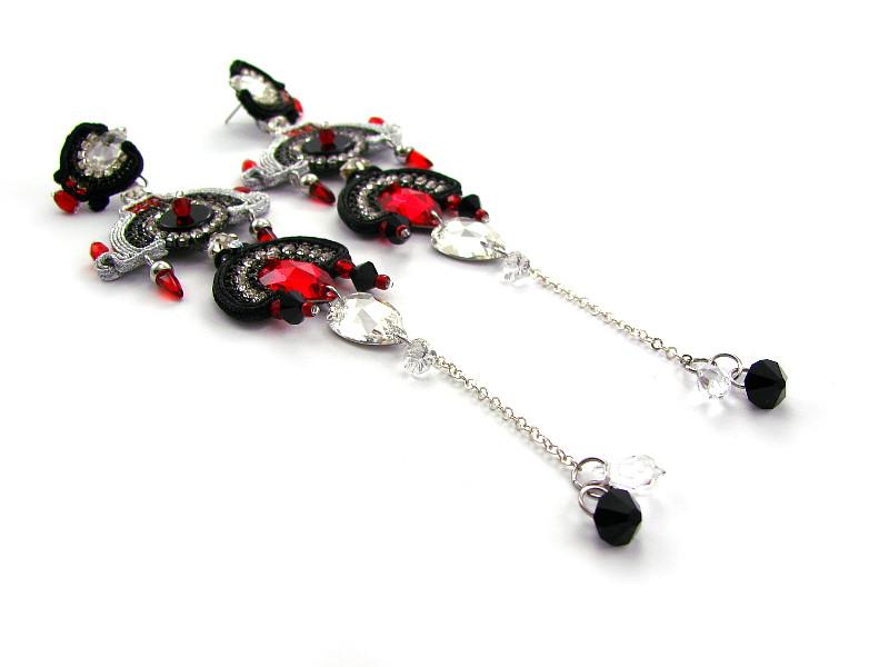 Luksusowe, czerwono czarne kolczyki na bal