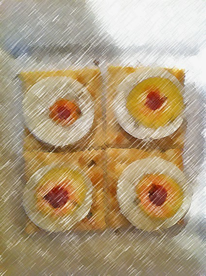 Eggs on Saltine Food Art
