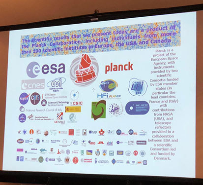 Planck analysis requires a very large international team of scientists (Source: COSPAR/Planck Collaboration)