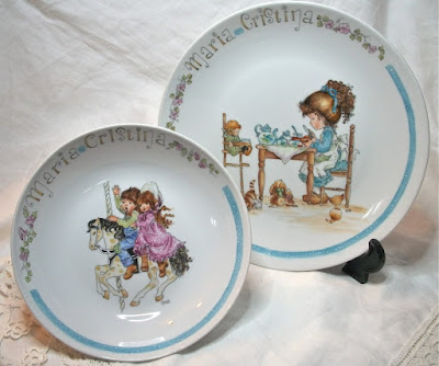 plate sarah kay, porcelain paintings