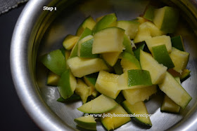 cubes of raw mango