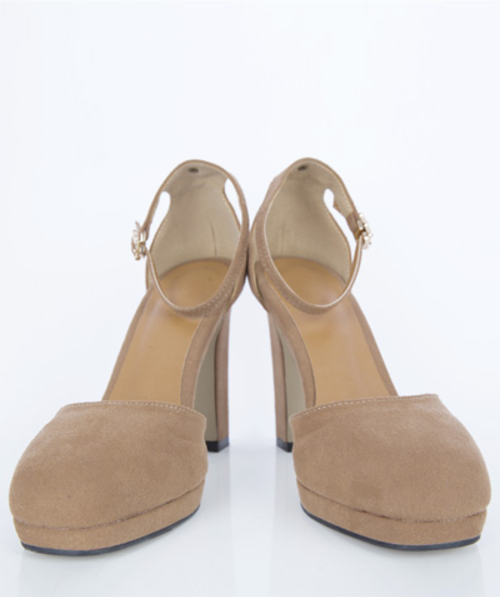 Faux Suede Open Side Pumps