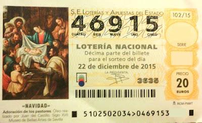 Billete de la lotería de Navidad de 2015