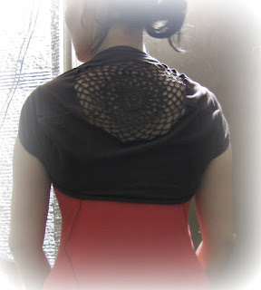tshirt shrug with crochet insert