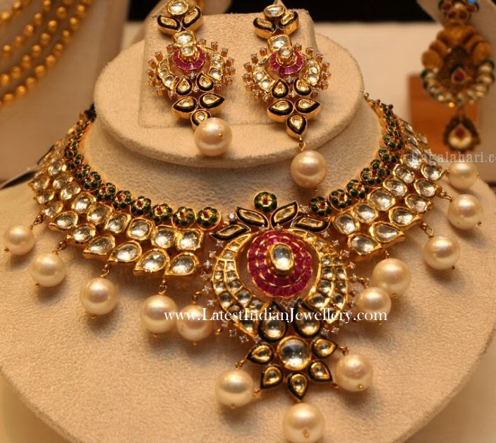 Kundan Jadau Necklace Set From Manepally Latest Indian