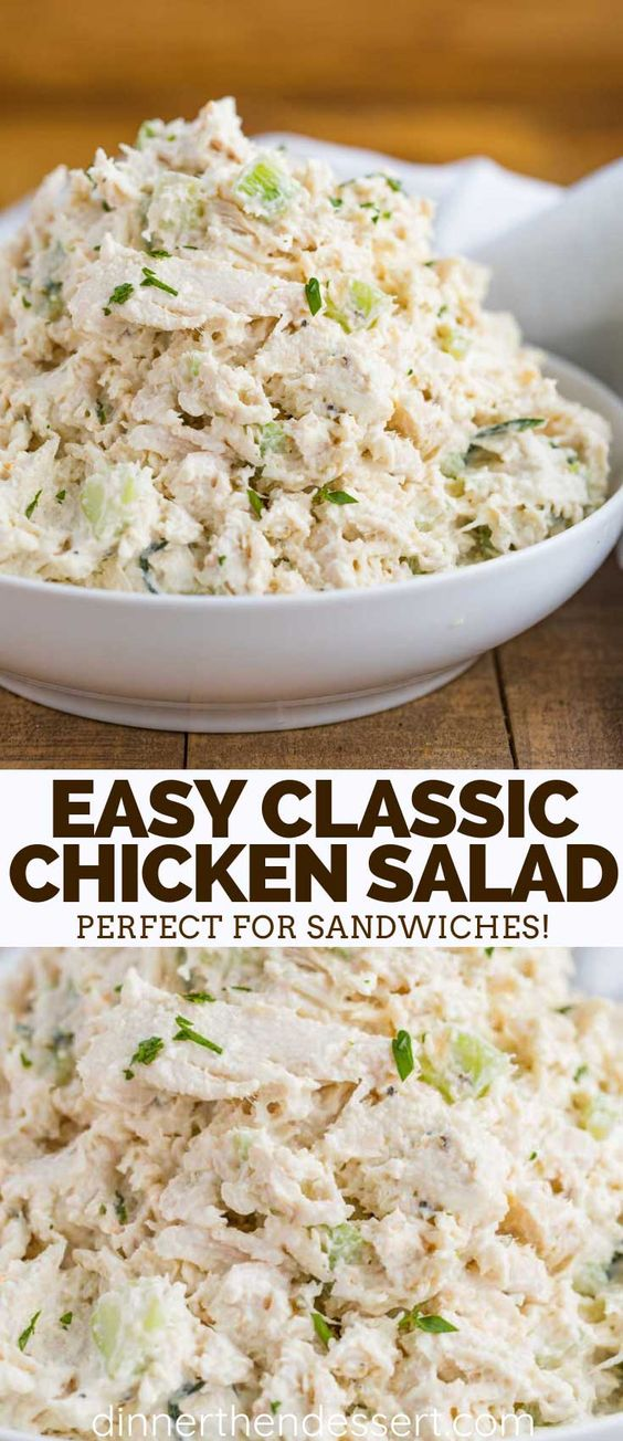 Classic Chicken Salad is the PERFECT combo of seasoned chicken breast, creamy mayonnaise, lemon juice, crunchy celery, and almonds, ready in just minutes! #chickensalad #chicken #classic #sandwich #best #lowcarb #simple #savory #basic #dinnerthendessert