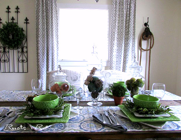 Decorating Ideas using blues and greens for a farmhouse rustic look