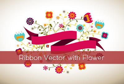 tapi cukup lah buat nempelin watermark atau nama kita Ribbon Vector with Flower