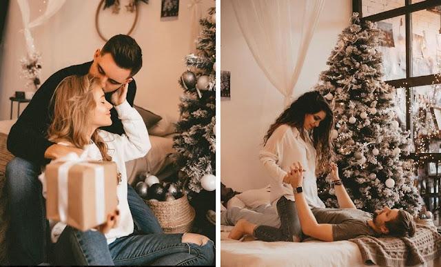 Romantyczna, ciepła,hygge, świąteczna sesja zdjęciowa pary wykonana przez Nika Sergah.