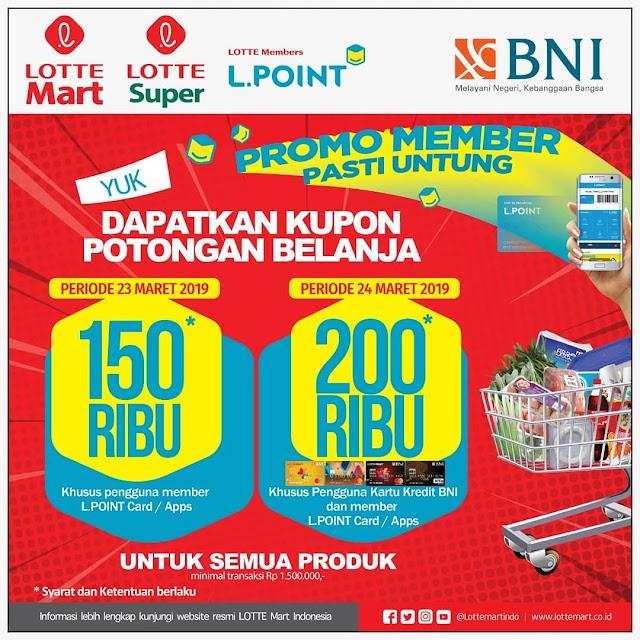 #LotteMart - #Promo Member Potongan Langsung Hingga 200K Pakai BNI Card (s.d 29 Mar 19)