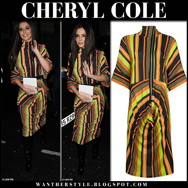 Cheryl Cole in striped orange and green midi dress jw anderson night out style october 7