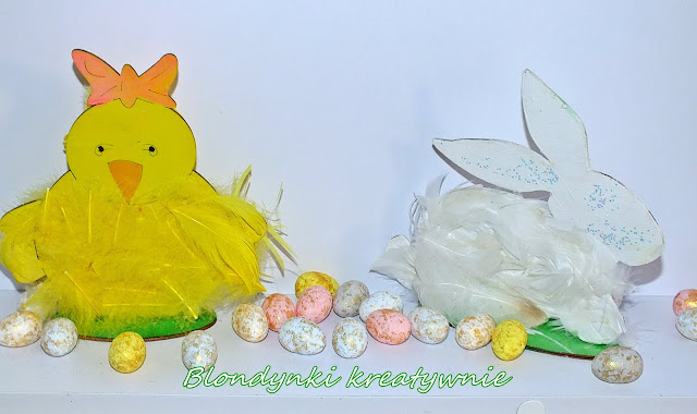 Kurczaczek i króliczek- drewniane ozdoby