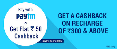 Paytm Rs. 50 Cashback on DISH TV