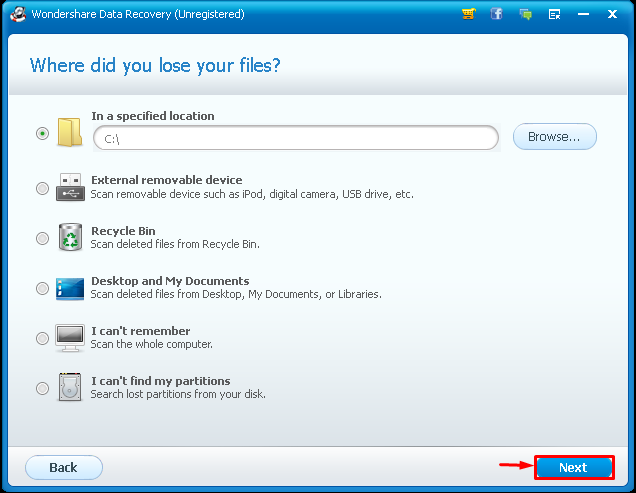 Wondershare Data Recovery drive
