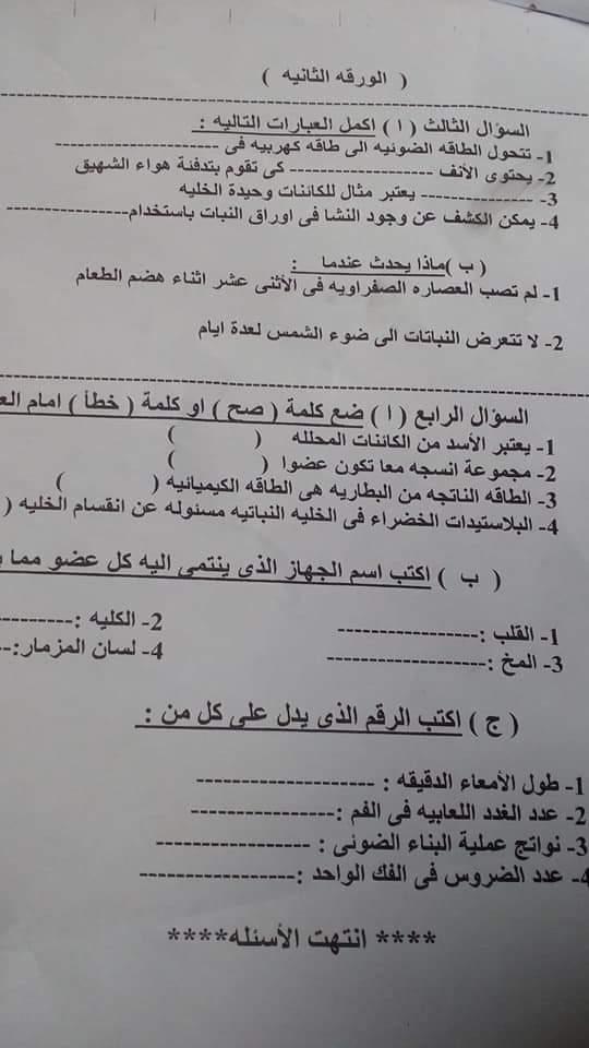 ورقة امتحان العلوم  للصف الرابع ترم ثانى 2019 محافظة القليوبية