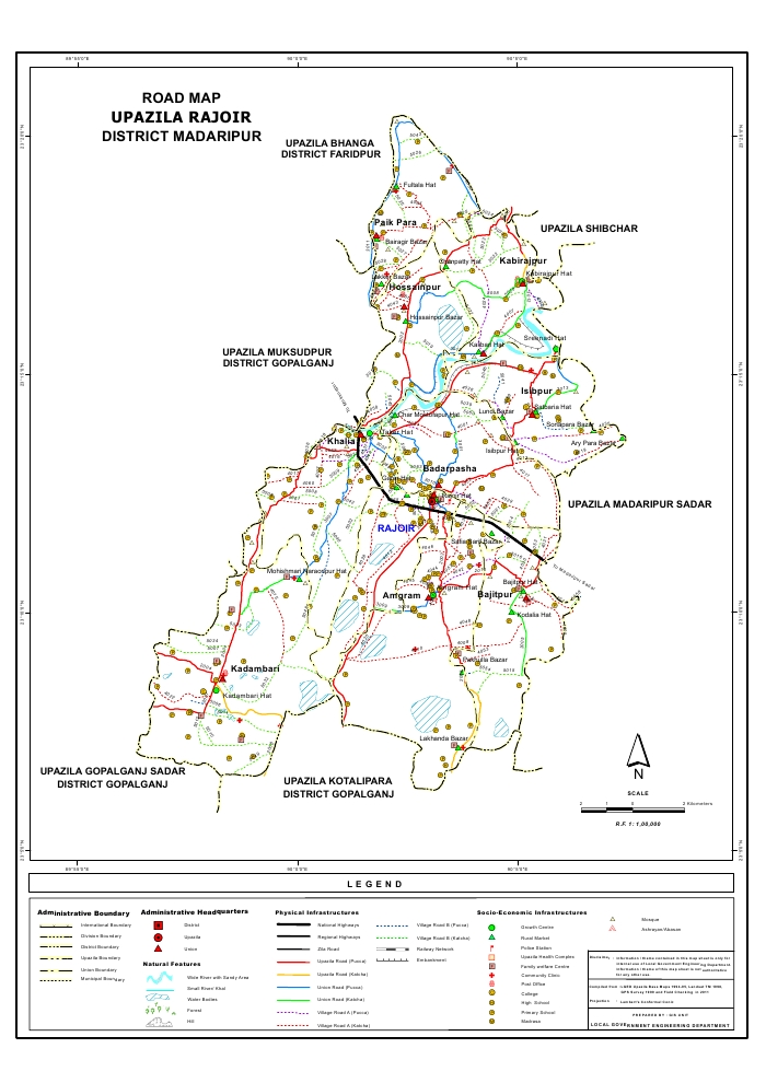 Rajoir Upazila Road Map Madaripur District Bangladesh