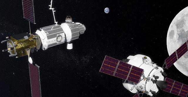 NASA's Orion spacecraft approaches the Lunar Orbital Platform-Gateway in lunar orbit. Credit: NASA
