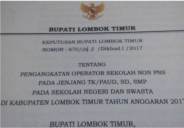 Daftar Nama Guru Yang Mendapatkan SK Bupati Jenjang TK/PAUD, SD, SMP Tahun 2017