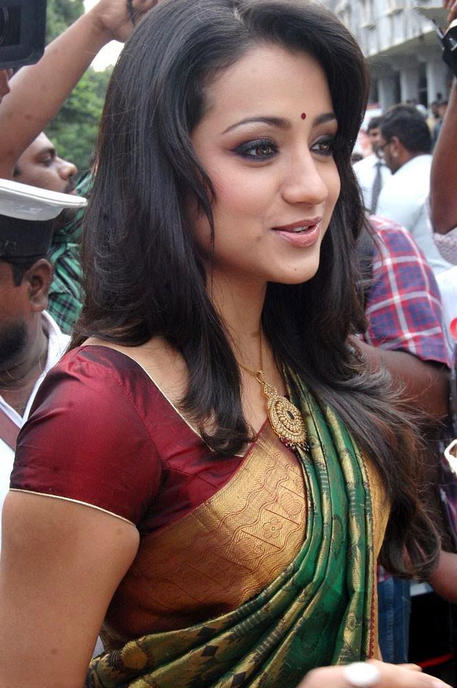 Trisha in a silk saree