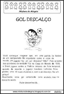 Jogos olímpicos e leitura Gol descalço