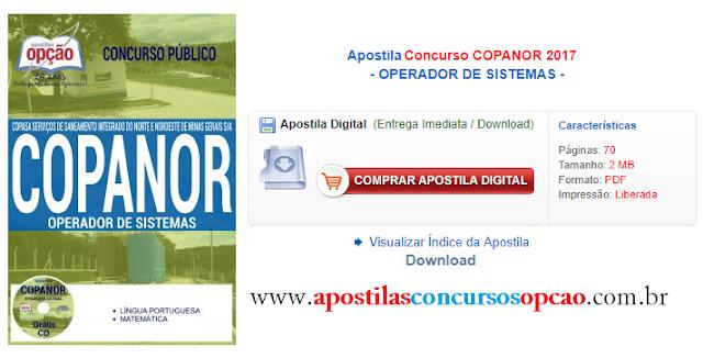 Apostila Concurso Copanor 2017 Operador de Sistemas - Copasa-MG