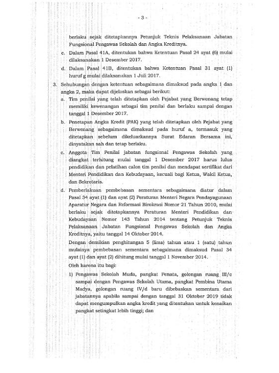 Surat Edaran Bersama Mendikbud dan Kepala BKN Tentang Jabatan Fungsional Pengawas Sekolah dan Angka Kreditnya