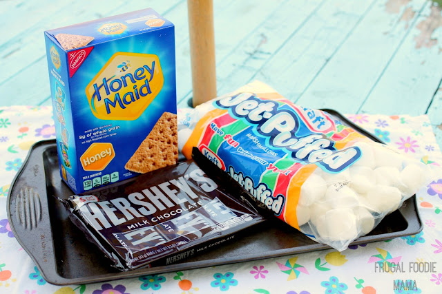 Pick up all your s'mores party essentials- Hershey's Milk Chocolate bars, Honey Maid Graham Cracker Squares, and Kraft's Jet Puffed Marshmallows- at your local Walmart. #LetsMakeSmores #ad