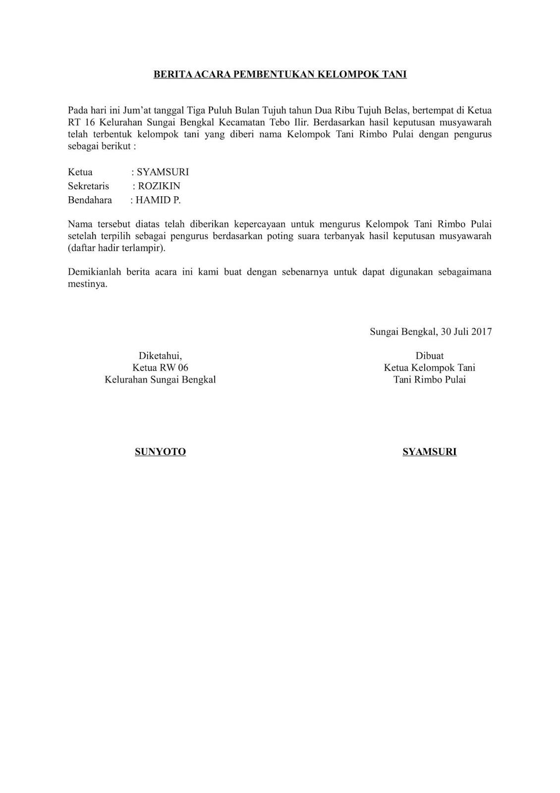 Contoh Surat Orton Download Contoh Berita Acara Pembentukkan