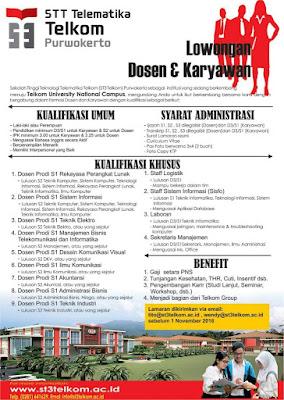 Lowongan Kerja Dosen & Karyawan ST3 Telkom Purwokerto
