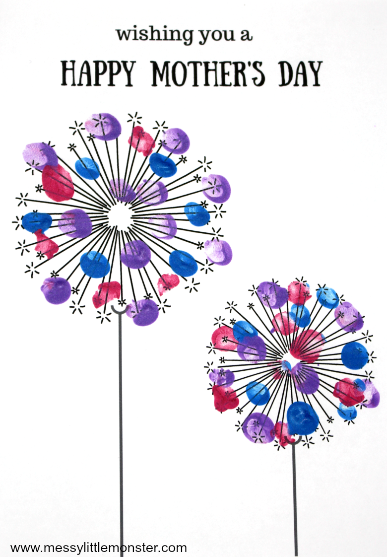 fingerprint dandelion - Printable Mothers day card keepsake craft for kids