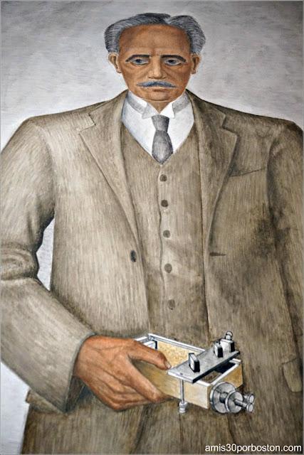 """Mural """"Scientist"""" de Mallette Dean en la Torre Coit de San Francisco"""