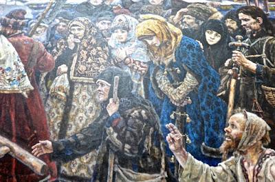 Moscou  : Galerie Tretiakov :  Vassili Ivanovitch Sourikov; Boyarina  Morozova (détail)