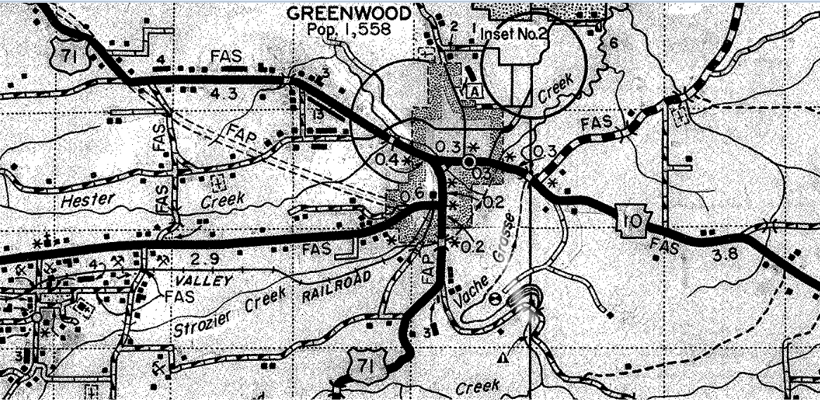This Is An Excerpt From A Circa 1961 Sebastian County Road Map Courtesy Of The Arkansas State Highway Commission Now Arkansas State Highway And