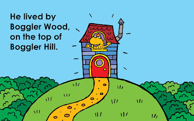 A picture of a boggler's house on top of a hill, with a boggler waving from the window