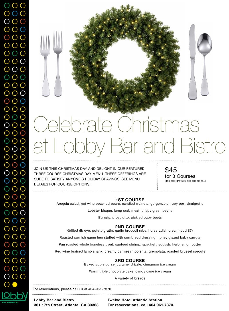 Serving Christmas Dinner at Lobby : Concentrics Restaurants