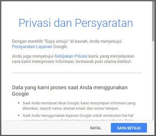 jangan lupa disetujui agar selesai proses pembuatan email dengan gmail