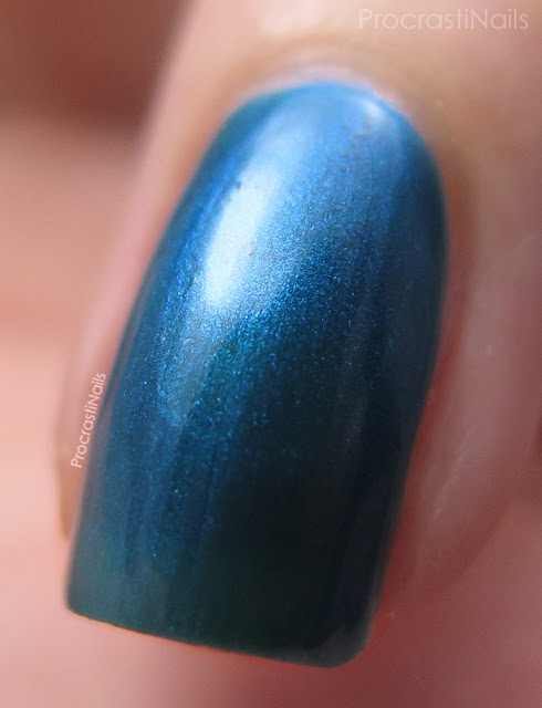 Macro of Dollarama Mariposa Blue Shimmer Nail Polish