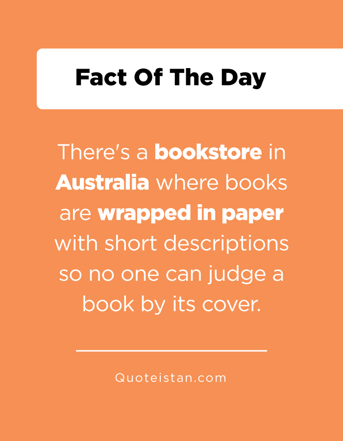 There's a bookstore in Australia where books are wrapped in paper with short descriptions so no one can judge a book by its cover.