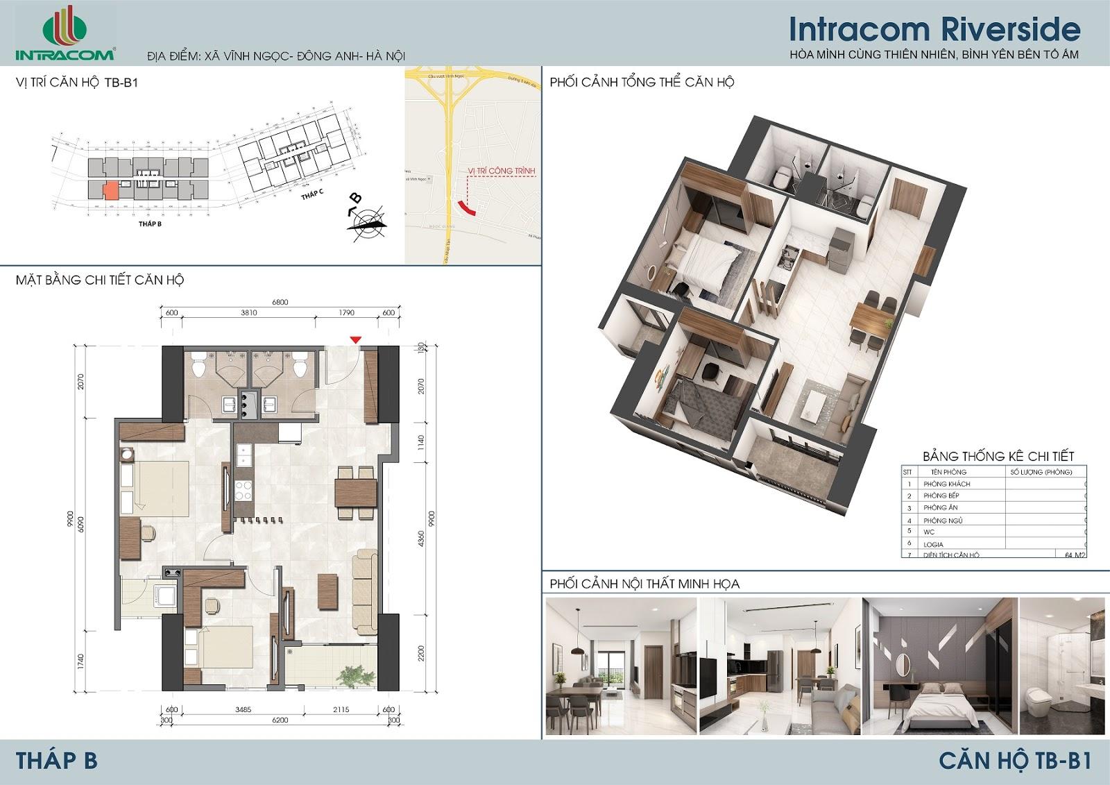 Thiết kế căn hộ 64m2 (02 phòng ngủ), căn số: 10, 15.