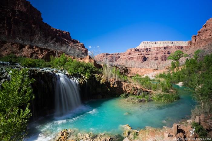 Navajo Falls is directly below Fifty Foot Falls  deeper than Fifty Foot