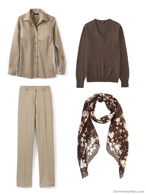 beige and brown 3-piece outfit, with brown floral scarf