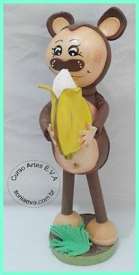 Macaco com banana em EVA