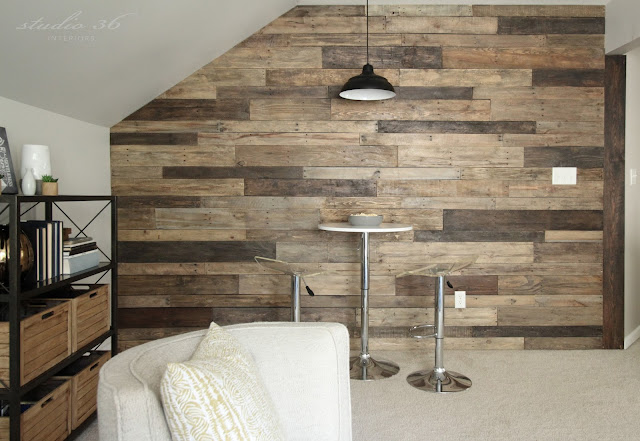 industrial wood wall with table