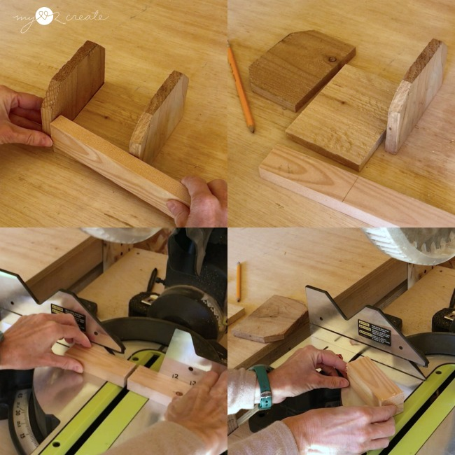 scrap wood into a cute caddy, cutting the 1x2 sides