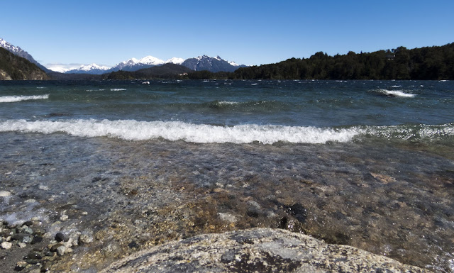 Waves lapping up to shore in Bariloche Argentina