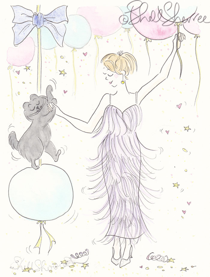 Dance Pawty Balloon Fest fashion & fluffballs illustration © Shell Sherree all rights reserved